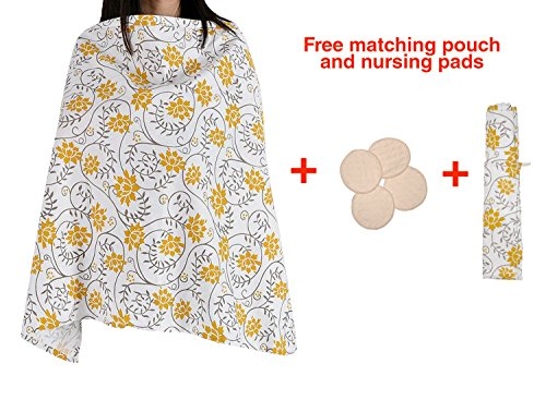Amazing Tot Premium Quality Nursing Breastfeeding cover with pockets | FREE Bonus Matching Pouch | Free Bonus Nursing pads | 100% cotton | Extra wide
