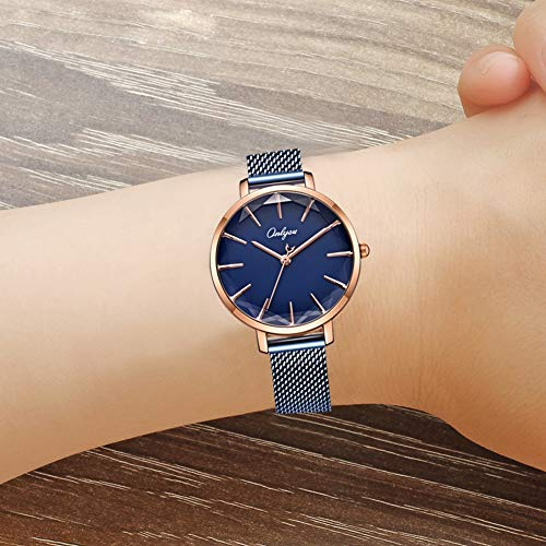 ONLYOU Women's Fashion Watches,Unique Face Design and 30M Waterproof,Analog Quartz Wristwatches with Stainless Steel Mesh Band (Blue) by onlyou (Image #6)'