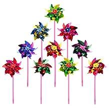 Deboc 10Pcs Plastic Windmill Pinwheel Wind Spinner Kids Toy Garden Lawn Party Decor(Color Random)