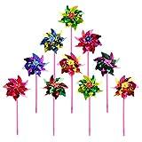 Hacloser 10Pcs Plastic Windmill Pinwheel Wind Spinner Kids Toy Garden Lawn Party Decor