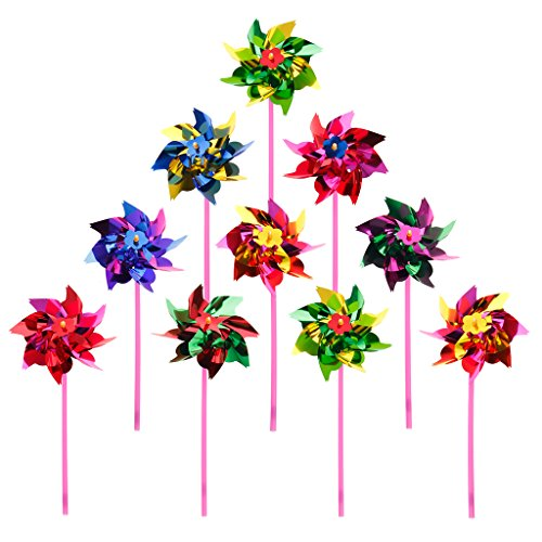 Wind Spinner Pinwheel (Hacloser 10Pcs Plastic Windmill Pinwheel Wind Spinner Kids Toy Garden Lawn Party Decor)