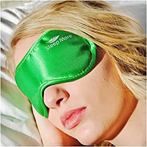 Sleep Mask (SMALL-Med Size) Sleeping Mask for Men or Women. A Quality GREEN Satin Travel Mask and Natural Rest Aid for Sleep Disorders & Insomnia