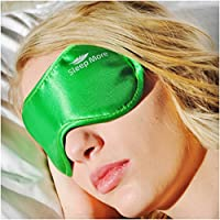 Sleep Mask (LARGE-XL Size) Sleeping Mask for Men or Women. A Quality GREEN Satin Travel Mask and Natural Rest Aid for Sleep Disorders & Insomnia