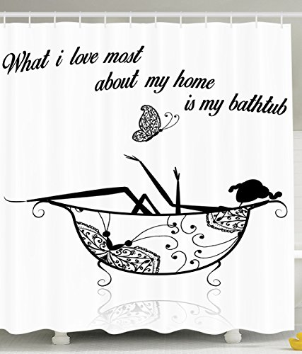 Funny Shower Curtain Quotes Love Decor What I Love Most About My Home is My Bathtub Sexy Print Black and White Women Silhouette Bubbles Relaxation Lovely Decoration for Men Women Bathroom Accessories (Shower Curtain Love compare prices)