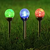 Twinkle Star Solar Pathway Lights Crackle Glass Globe Solar Lights Outdoor Color Changing Stainless Steel Solar Garden Lights, Set of 3