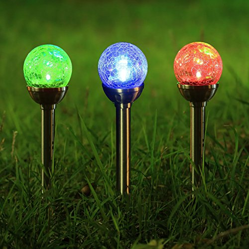Twinkle Star Solar Pathway Lights Crackle Glass Globe Solar lights Outdoor Color Changing Stainless Steel Solar Garden Lights, Set of 3 (Garden Light Sets)