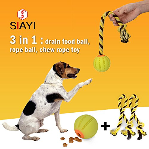 SIAYI 3 in 1 Dog Treat Ball with 2 Ropes Drain Food Ball Food-graded Silicone Bite-resistant Chew Toys for Dogs