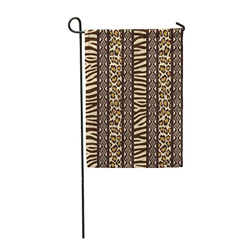 (Tarolo Decoration Flag Blue Pattern African Wild Animals Skins Red Safari Zebra Africa Leopard Tribal Thick Fabric Double Sided Home Garden Flag 12