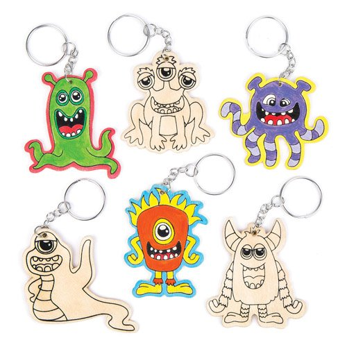 Alien Monsters Wooden Colour-in Keyrings For Kids Perfect For Children's Arts, Crafts And Decorating For Boys And Girls (Pack of 6)