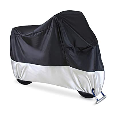 "Motorcycle Cover Waterproof Outdoor Heavy Duty Fit up to 108"" Motors 2XL with Lockhole All Season Universal Weather Protection Against Dust Debris Rain Sun Durable Tearproof: Home Improvement"