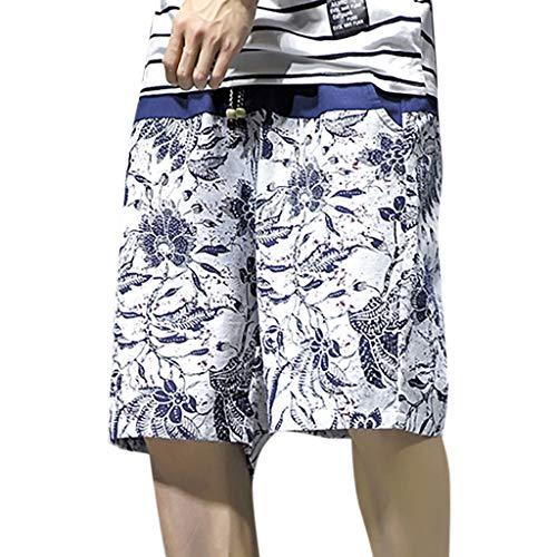 iCODOD Men's Shorts Printed Swimming Swim Trunks Trousers Swimwear Swimsuit Beach Surfing Shorts Sweatpants White XL