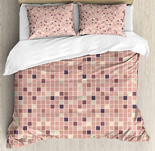 Lunarable Dusty Rose Duvet Cover Set King Size, Square Shapes Mosaic Tile Design Rows in Retro Tones Geometrical Colorful, Decorative 3 Piece Bedding Set with 2 Pillow Shams, Rose Peach Plum -