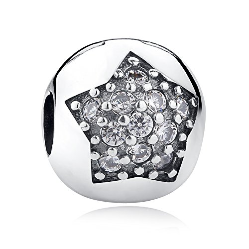 The Kiss Pavé CZ Clip Open My Heart Flower 925 Sterling Silver Bead Fits European Charm Bracelet (You're A Star With Clear CZ Clip)