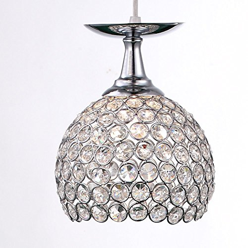 YANCEN 1 Light Modern Crystal Pendant Light Wine Cup Chandelier Lighting Hanging Ceiling Lamp Fixture with Chrome Finish Metal Glass Shade for Bar Island Kitchen (Chrome Island Lamp)