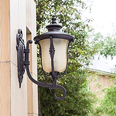 XAJGW Clásico Tradicional Aluminio Vidrio E27 Lámparas de pared Villa de estilo europeo Exterior de jardín IP65 Lámparas de pared impermeables Apliques de pared exterior vintage Faroles para entrada P: Amazon.es: Hogar