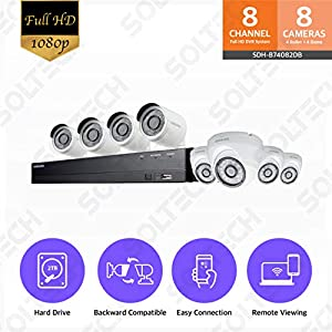 Samsung SDH-B74082DB 8 Channel Full HD DVR Video Security System 2TB Hard Drive 4 1080p Bullet Cameras (SDC-9443BC) 4 720p HD Dome Cameras (SDC-8442DC)