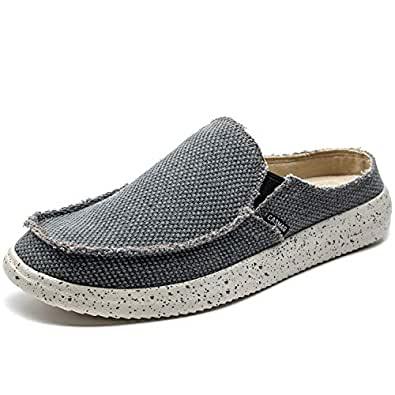 CASMAG Men's Casual Slip On Shoes Flip Flops Clog Canvas Mule Loafers Slipper Slide Sandal Walking Shoes Blue Size: 6