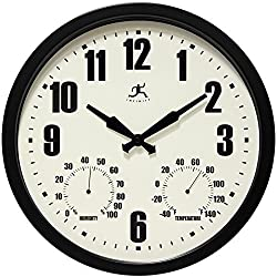 Infinity Instruments Munich Round Clock, 14, Black by Infinity Instruments