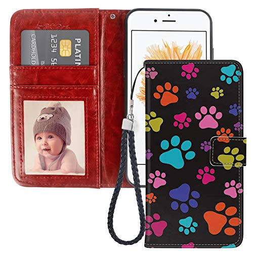 Wallet Prints Paw (SANTUO iPhone 5 Case iPhone 5S Case iPhone SE Wallet Case Paw Print with Card Slots, Stand Feature and Magnetic Closure, PU Leather Flip Case [1 Pack])