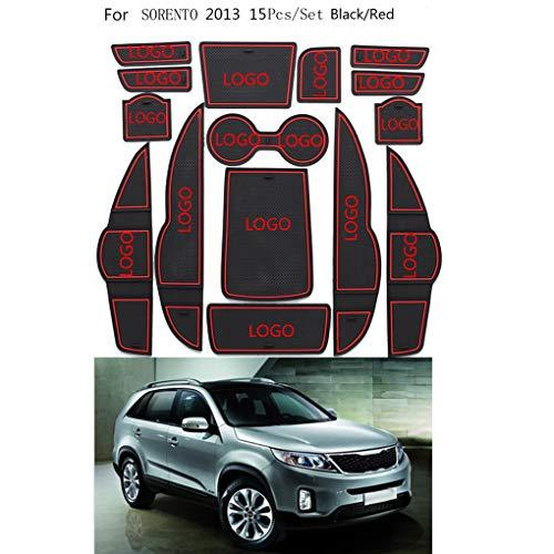qotone 15pcs/Set Gate Slot Pad Automotive Interior Non-Slip Mats Replacement for Kia Sorento 2013 ()