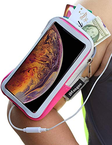 - iMangoo Universal Phone Pouch for iPhone Xs Max Armband Outdoor Sports Running Arm Band iPhone 10s Max Wrist Bag Key/Card Slot Sleeve Gym Touchscreen Armband for Apple iPhone Xs Max 6.5'' 2018 Pink