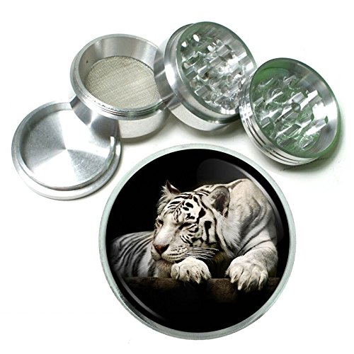 White Tiger Em1 Silver Chrome 63mm Aluminum Magnetic Metal Herb Grinder 4 Piece Hand Muller Spices & Herb Heavy Duty 2.5