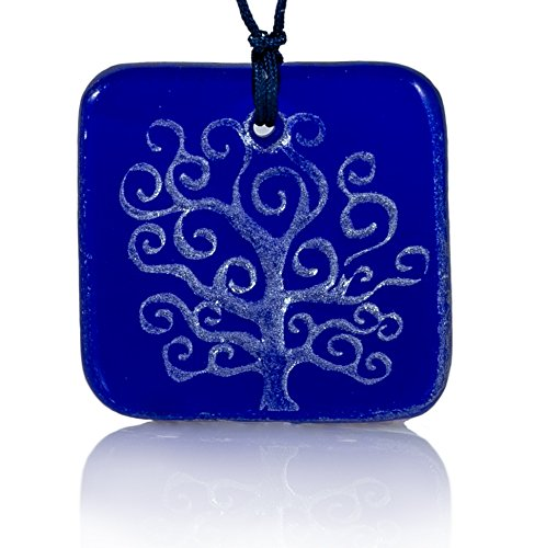 Moneta Jewelry, Recycled Glass Tree of Life Pendant Necklace, Handmade, Fair Trade, Unique Gift (Blue)