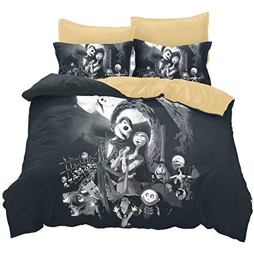 KTKRR Christmas Duvet Cover Set (no comforter),Scarecrow Style Nightmare Before Christmas 3pc Bedding Set, Duvet Cover with Pillowcase Gift 3D Terrorist Design (QUEEN, Black Christmas) -