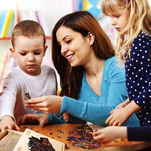 7.9x7.9in S /— 20x20cm Wooden Jigsaw Puzzle Unique Shape Puzzle Pieces Lion Puzzles Best Gift for Adults and Kids 100pcs