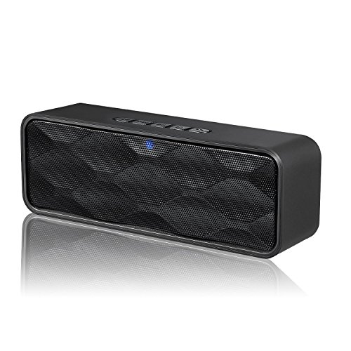 ZoeeTree S1 Wireless Bluetooth Speaker, Outdoor Portable Stereo Speaker with HD Audio and Enhanced Bass, Built-in Dual Driver Speakerphone, Bluetooth 4.2, Handsfree Calling, TF Card Slot - Black