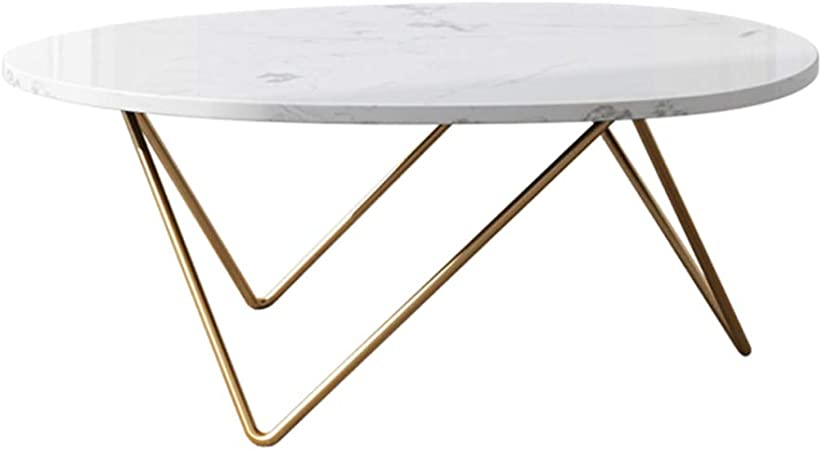 100x60x45cm Oval Coffee Side Table In Marble Sofa End