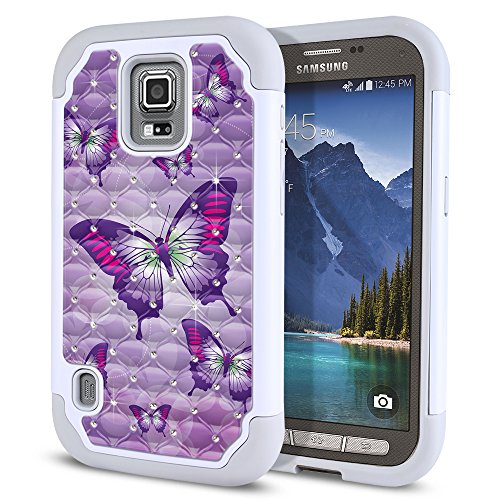 Samsung Galaxy S5 Active G870A Case, Fincibo (TM) Dual Layer Shock Proof Hybrid Hard Protector Cover Anti-Drop Silicone Star Studded Rhinestone Bling, Pink Purple Butterflies