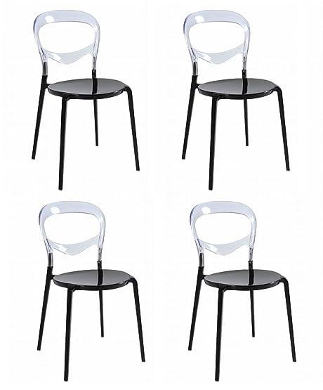 Set 4 SEDIE Design con base in alluminio nero e schienale in ...