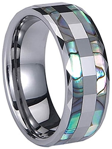 Men's Silver Tungsten Carbide Double Rows of Shell 8mm Flat Top Band Ring,Size 9 ()