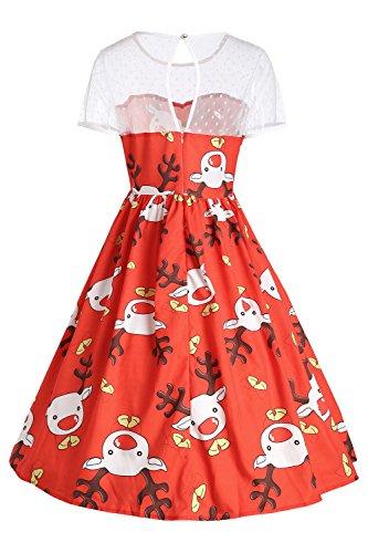 Damen Mädchen Rockabilly Weihnachtskleid Swing Festlich Kleid mit ...
