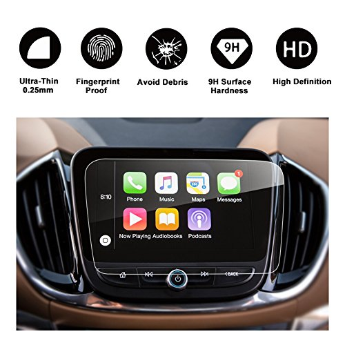 2016 2017 2018 Chevrolet Volt MyLink 8 Inch Car Navigation Screen Protector, RUIYA HD Clear TEMPERED GLASS Car In-Dash Screen Protective Film