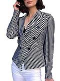 Sollinarry Women's Stripe Long Sleeve Slim Fit Blazer Double Breasted Peplum Crop Jacket Stripe 10