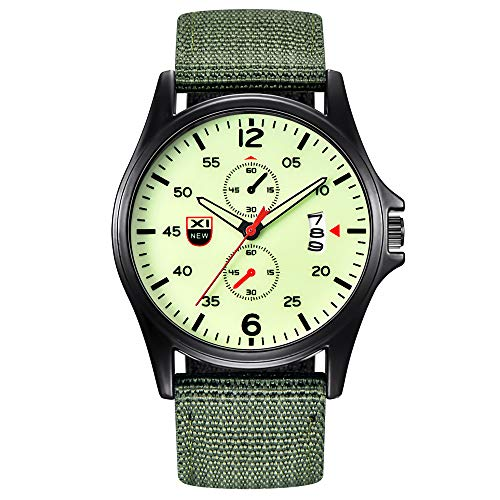 Timer Mens Eco Drive World - Military Nylon Waterproof Date Quartz Analog Army Men's Quartz Wrist Watches
