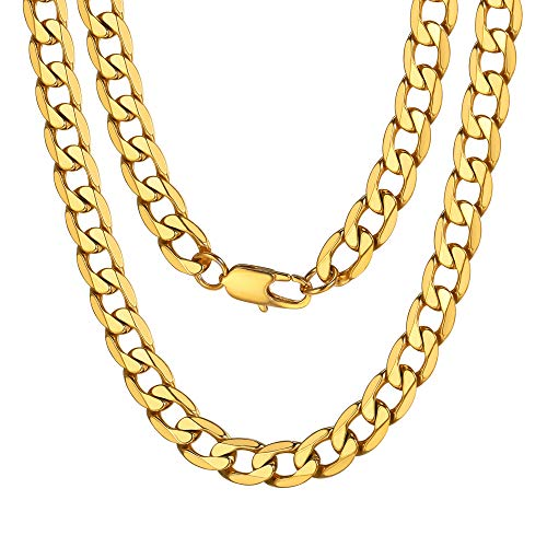 (ChainsPro Mens Gold Necklace Chain 316L Stainless Steel Gold Tone Miami Cuban Curb Link Chain 9mm 26 inch Men Women Necklace)