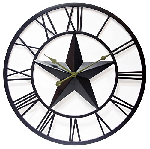 27 Inch Large Metal Wall Clock with Tin Star, Patriot by Infinity Instruments