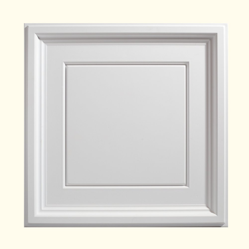 Genesis Easy Installation Icon Coffer Lay-In White Ceiling Tile / Ceiling Panel, Carton of 12 (2' x 2' Tile)