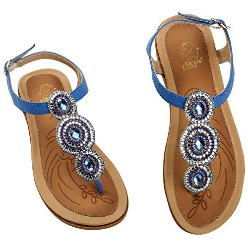 Alexis Leroy T-Strap y Thong, Sandalias de con Diamante diseñar para Mujer Azul