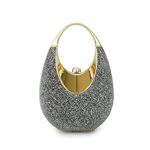 Colory Women's Sparkle Mesh Hard Egg Clutch Mini Party Bag With Chain Strap