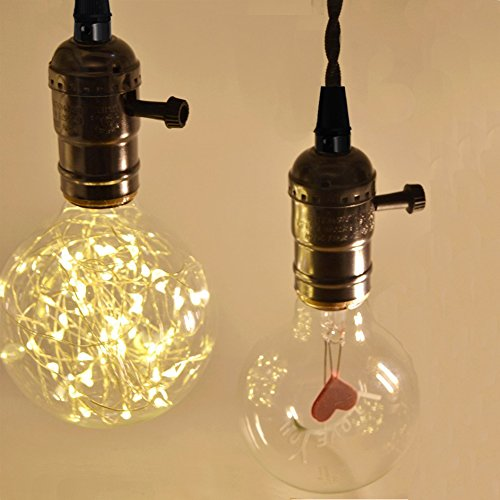 E26/ E27 Solid Industrial Triple Light Sockets, Sopoby Vintage Edison Hanging Textile Pendant Light Cord Kit with Plug by Sopoby (Image #4)