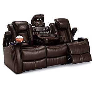 lane omega leather gel home media sofa power recline sofa w flip console brown