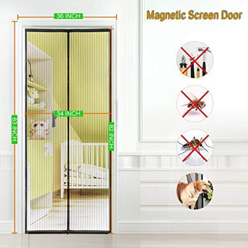 - Magnetic Screen Door 36''x83''Fits Doors up to 34''x82'', Curtain For French Door/Sliding Glass Door, Magnet Screen With Full Frame Velcro