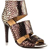 Jessica Simpson Women's High Ankle Peep-toe Leather Python Pumps Brown (7.5)