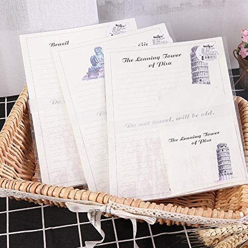 FANGDAHAI Briefpapier Supplies 9pcs/Set 3 envelopes + 6 sheets letter paper World Famous Building Series Envelope For Gift Korean Stationery