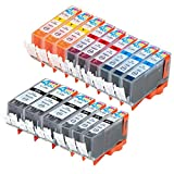 15 Pack - Compatible Ink Cartridges for Canon PGI-220 & CLI-221 PGI-220BK CLI-221BK CLI-221C CLI-221M CLI-221Y Inkjet Cartridge Compatible With Canon PIXMA IP3600 PIXMA IP4600 PIXMA IP4700 PIXMA MP540 PIXMA MP560 PIXMA MP620 PIXMA MP620B MP640