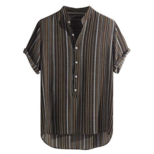 (haoricu Summer Mens Short Sleeve Shirts Linen Cotton Button Down Fishing Striped Tees Plain Summer Shirts Brown)